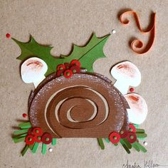 Day 2 of my 2015 Advent Calendar Alphabet shows a Yule log for the letter Y. Gotta love chocolate cake shaped like a tree log and decorated like a woodland forest.✂️ #illo_advent