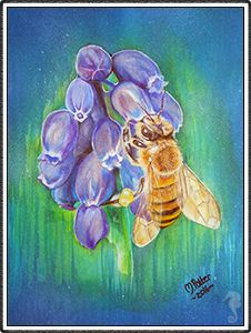Michelle Potter - Visionary Artist, Spirit Artist, Spirit Guide Drawings, Commission Paintings, Portraits, Melbourne Artist, bee, bluebells, mixed media