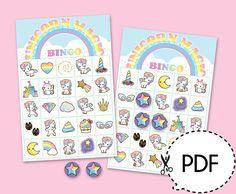 Deze afdrukbare bingo spel kit wil wat pret in unicorn thema partij. Deze kit wordt geleverd met 30 verschillende bingokaarten en een pagina van de game markeerdraad die u met een 3/4 cirkel perforatie, een blad trekken kaarten en het template van de bal van de geo maken kunt te houden