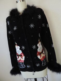 black sequin by cricketcapers Christopher Radko, Black Sequins, Ugly Christmas Sweater, Black Sweaters, Being Ugly, Fur Coat, Bomber Jacket, Jackets, Handmade
