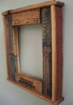 Barn wood frame by AshleyPawley Barn Wood Crafts, Barn Wood Projects, Old Barn Wood, Reclaimed Wood Projects, Reclaimed Barn Wood, Rustic Wood, Recycled Wood, Repurposed, Handmade Picture Frames