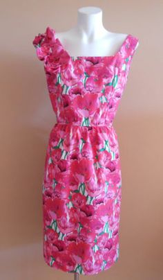 VINTAGE HARAH DESIGNS PINK FLORAL 50s COTTON PARTY DRESS 6-8-10 -12-14-16-18-20