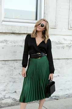 Emerald Green Skirt and Classic Black Blouse — Personally Paige : Emerald Green Pleated Zara Skirt & Black Wrap Blouse Green Skirt Outfits, Dress Outfits, Green Pleated Skirt, Midi Skirt Outfit, Winter Skirt Outfit, Fashion Outfits, Black Blouse Outfit, Green Outfits For Women, Zara Pleated Skirt