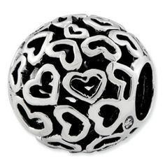 Reflection Beads Sterling Silver Hearts Bali Bead