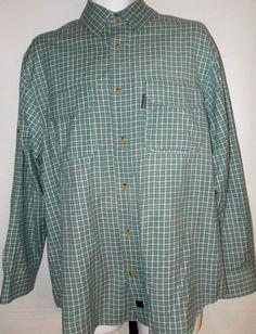 Mens Shirt Medium WoolRich Long Sleeve Blue Green Plaid check Button Front #WoolRich #ButtonFront
