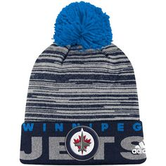 0ba70b60b8000 Men s Winnipeg Jets adidas Navy On Ice - Cuffed Pom Knit Hat