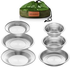 Camping Dishes, Camping Set, Family Camping, Big Bowl, Bowl Set, Outdoor Dinnerware, Stainless Steel Plate, Plates And Bowls, Small Plates