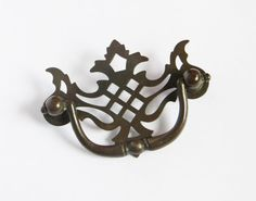 Antique Tarnished Brass Drawer Pull 1.5 inch by Iprefervintage