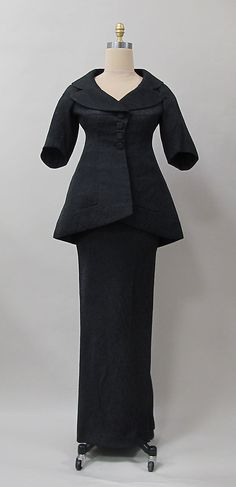 Evening suit, Charles James, 1956, synthetic. Purchase, Costume Institute Benefit Fund, Friends of The Costume Institute Gifts, and Acquisitions Fund, 2013. -The Metropolitan Museum of Art 2013.281a, b