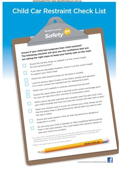 Child Car Restraint Safety Check List | Stay at Home Mum