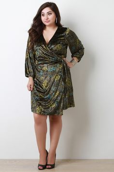 This plus size dress features a surplice wrap front with self-tie sash, long sleeves, floral print on velvet fabrication, and a midi length hemline. Accessories sold separately. 100% Polyester. Measurement Size Bust Waist Hip Length Sleeve 1X 44 38 46 38 19 2X 46 40 48 39 19.5 3X 48 42 50 40 20
