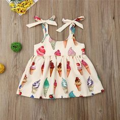 Sweet Kids Baby Girl Clothes Ice Cream Print Sets Sleeveless Bow Tie Tank Tops+Shirts A-Line Summer Kids Girl Outfits Ropa de niña, Toddler Summer Dresses, Dresses Kids Girl, Kids Outfits Girls, Girl Outfits, Baby Girl Frocks, Frocks For Girls, Baby Dress Design, Frock Design, New Baby Dress