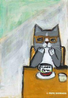 Pepe Shimada Crazy Cat Lady, Crazy Cats, Ugly Cat, Coffee Artwork, Cat Drinking, Cat Colors, Cat Love, Cool Cats, Cat Art