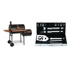 CharGriller 1224 Smokin Pro 830 Square Inch Charcoal Grill with Side Fire Box with Cuisinart Grilling Set *** You can find out more details at the link of the image.