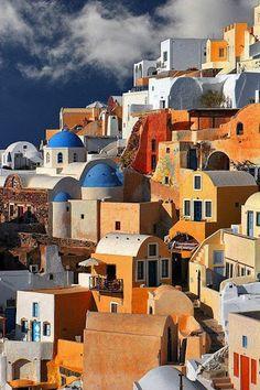 """  Cafe in Oia, Santorini, Greece."" Google+"
