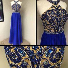 Royal blue prom, Halter prom dresses, chiffon prom