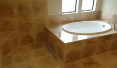 travertine tub shower combo - Google Search