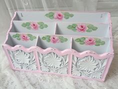 SHABBY WALL or DESK ORGANIZER crafts hp roses chic vintage cottage hand painted  #VINTAGE #COTTAGCHIC