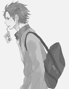 Black and white anime boy drinking from an apple juice container~Hawt