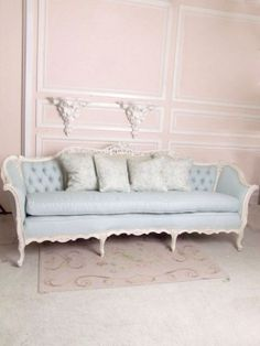 French, Shabby Chic, Sofa, Blue by milagros - Love the blue sofa!!! Perfect for the dressing room.