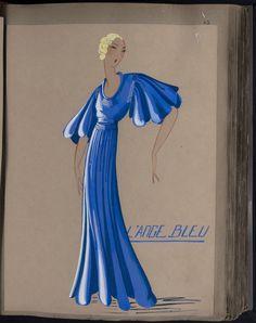 Robe L'Ange Bleu, Paris, 1932, copyright Patrimoine Lanvin #Lanvin125