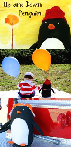 Halloween Costumes inspired by books || Oliver Jeffers Up and Down Penguin and little boy costume