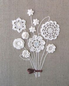 for inspiration- I never thought of using bits of crochet and tatting to make flowers- combine with embroidery and buttons Crochet World, Crochet Home, Love Crochet, Crochet Motif, Irish Crochet, Crochet Doilies, Crochet Flowers, Crochet Patterns, Crochet Bouquet