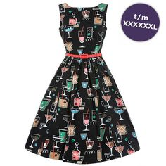 Swing Audrey jurk met cocktail print zwart - Vintage, 50's, Rockabilly