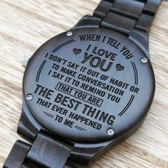 Husband Watch - Perfect Gifts For Husband - Engraved Wooden Watch - Men's Watch Gifts For Fiance, Gifts For Him, Great Gifts, Special Gifts, Perfect Gift For Boyfriend, Diy Gifts For Boyfriend, Monthsary Message For Boyfriend, Love Wife, Husband Love