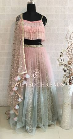 Pink Ombre Lehenga with tassels on dupatta. By Twisted Threads Indian Wedding Outfits, Bridal Outfits, Indian Outfits, Wedding Dresses, Wedding Hijab, Wedding Wear, Indian Lehenga, Blue Lehenga, Lehenga Choli