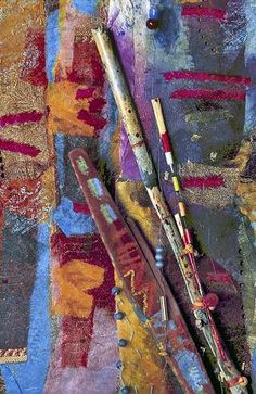 Wand - detail (Julia Capara). Bonded cloth and paper with painted sticks. 200 x 15 cms (7 ft x 6 ins).