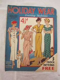 "VINTAGE 1930's ""LEACH'S DRESSMAKER HOLIDAY WEAR"" SEWING PATTERN FASHION MAGAZINE GBP34.99+4 54.74+6.26 18bds 8/25/14 good"