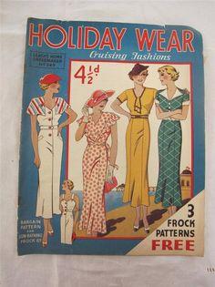 "VINTAGE 1930's ""LEACH'S DRESSMAKER HOLIDAY WEAR"" SEWING PATTERN FASHION MAGAZINE GBP34.99+4 54.74+6.26 18bds 8/25/14 good"
