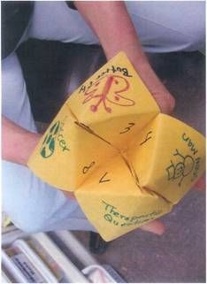 """We did this in our DBT groups as a """"get to know you"""" activity. Email me if you want my .pdf files; I made 10, all with different questions. Just please give me credit if you use them.  Dr. Zelinger has adapted the popular Chinese Fortune Teller as a cognitive behavioral technique"""