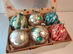 Glass Christmas Tree Ornaments Vintage 50's by FeistyFarmersWife, $20.00