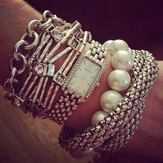 I love the look of multiple bracelets! Love Bracelets, Bangle Bracelets, Bracelet Watch, Bangles, Layered Bracelets, Jewelry Shop, Jewelry Accessories, Fashion Accessories, Pretty Designs
