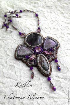 "Купить Кулон ""Purple butterfly"" - тёмно-фиолетовый, кулон, бисер, натуральные камни, аметист, яшма"