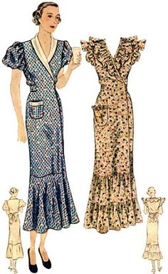 "1930 Ladies ""Hooverette"" Day Dress. Is it possible that I remember my grandmother in one of these dresses?"