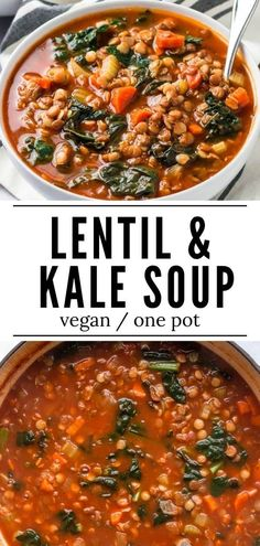 This easy Lentil and Kale Soup is packed with veggies, lentils and a few simple seasonings. It comes together easily and tastes great as leftovers. #soup #healthy #comfortfood #easydinner #recipes Lentil Kale Soup, Lentil Soup Recipes, Healthy Soup, Healthy Recipes, Vegan Soup, Fast Recipes, Yummy Recipes, Vegetarian Recipes, Winter Dinner Recipes