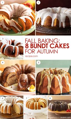 8 Bundt Cakes for Fall Baking (Fall Bake) Just Desserts, Delicious Desserts, Dessert Recipes, Cupcakes, Cupcake Cakes, Fall Recipes, Sweet Recipes, Bunt Cakes, Fall Baking