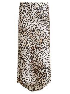 Bias godet leopard-print twill slip skirt | Raey
