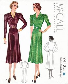 McCall 9442 1930s dress accordion pleat trim vintage sewing pattern reproduction