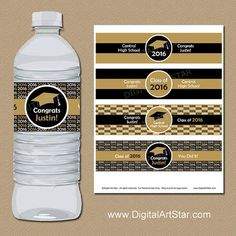 High School Graduation Party Decorations - Black and gold graduation water bottle label printable