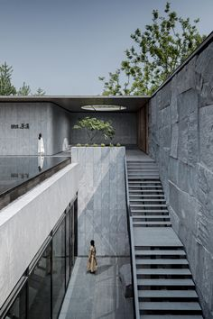 Courtyard of Suzhou Stream Villa by Change Studio « Landscape Architecture Plat. - Courtyard of Suzhou Stream Villa by Change Studio « Landscape Architecture Platform Architecture Courtyard, Concrete Architecture, Landscape Architecture Design, Minimalist Architecture, Modern Architecture House, Interior Architecture, Rendering Architecture, Architecture Background, Landscape Architects