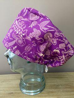 Purple with a Beautiful Gold Pattern Surgical Scrub Cap, Women's European Style Scrub Hat, Modified Bouffant Scrub Hat, Custom Caps Company by CustomCapsCompany on Etsy