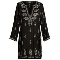 Juliet Dunn Embroidered silk kaftan ($301) ❤ liked on Polyvore featuring tops, tunics, bohemian tunic, sequin tunic, white embroidered tunic, boho tops and silk caftan