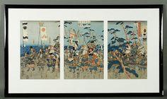 "Woodblock print triptych, Japan, 19th century, 13 3/4"" x 30"", framed 21 3/4"" x 39 1/2""."