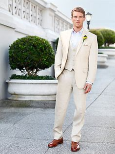 Calvin Klein Tan Linen Suit....looks like this is what my fella is wearing.
