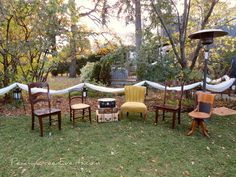 Mis Matched Antique Outdoor Seating Outdoor Seating, Outdoor Decor, Wedding Events, Weddings, Event Photos, Outdoor Furniture Sets, Antiques, Water, Green