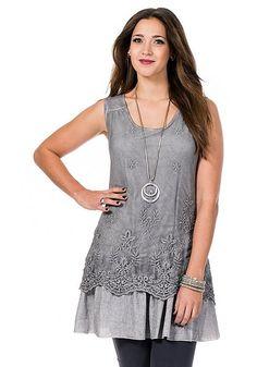 sheego Style Romantisches Longtop - grau | Damenmode online kaufen